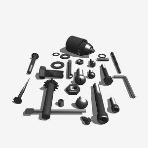 3d model nuts bolts screws