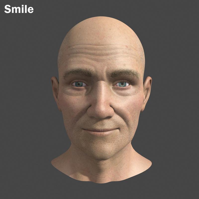 3d model male head morph targets