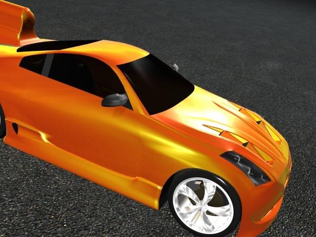 3d model cool rocket car flames