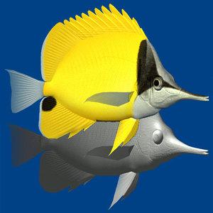 long beaked butterflyfish 3d model