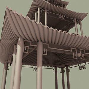 asian pagoda 3d model