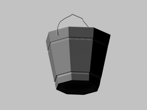 3d model wood bucket
