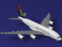 3d airbus a380-800 south african model