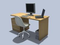3d model of office chair desk