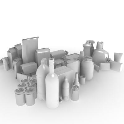 bottle carton box 3d model