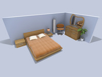 bedroom set bed 2 3d model