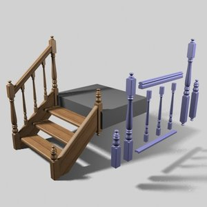 stairs ladder spindles 3d max