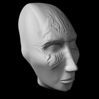 3d alien woman head model