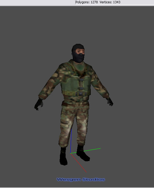 3d soldier gamestudio boned model