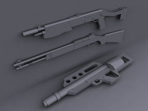 shotguns guns pack 3d 3ds