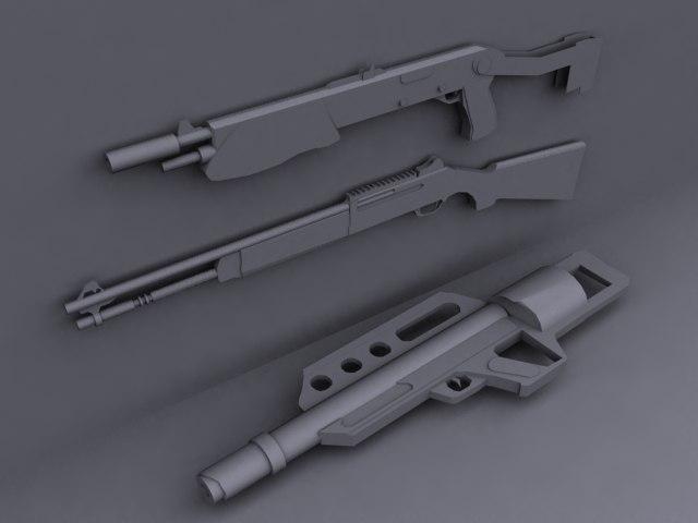 shotguns guns pack 3d 3ds
