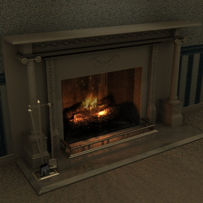 3ds max fireplace place