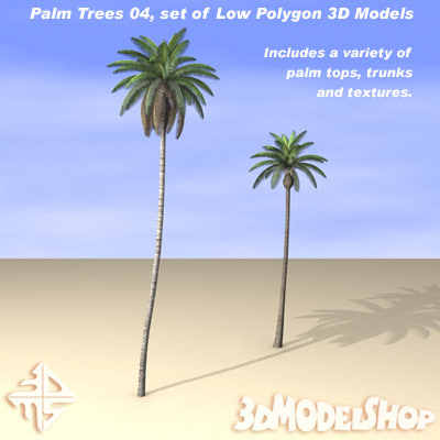 3d palm trees set