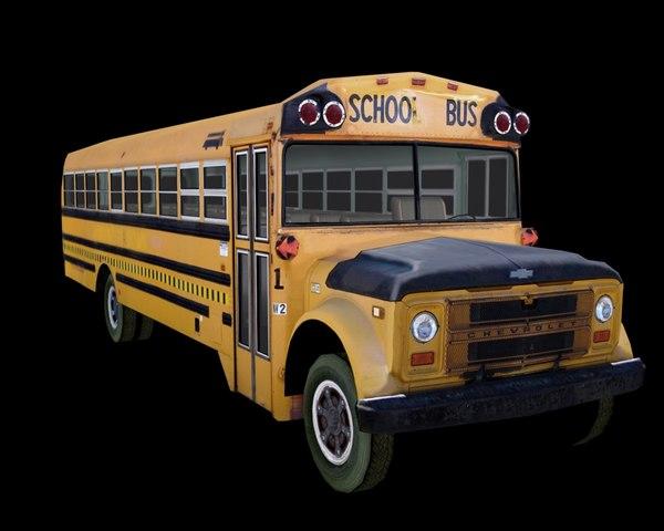 old chevy school bus 3d model