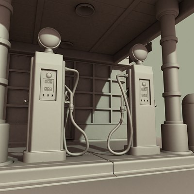 gas station pump 3d max