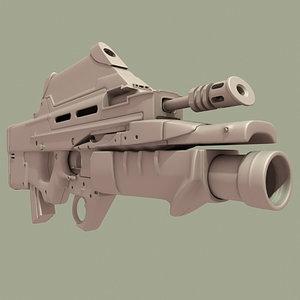 fabrique national herstal rifle 3d model