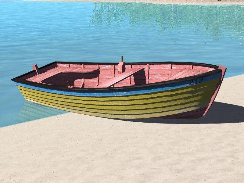 3d model wooden fishing boat