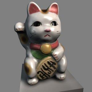 3d model beckoning cat