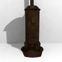 antique stove iron cast 3d max