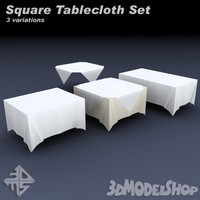 square tableclothes set 3d model