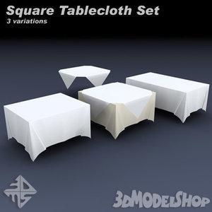 square tableclothes set 3d model