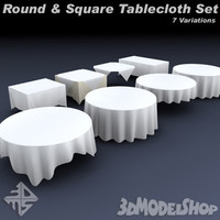 3d model square tableclothes set