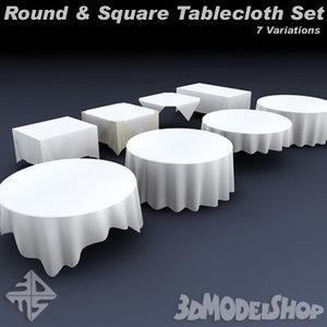 3d model square tableclothes set
