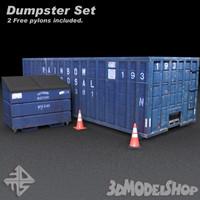3d dumpsters set model