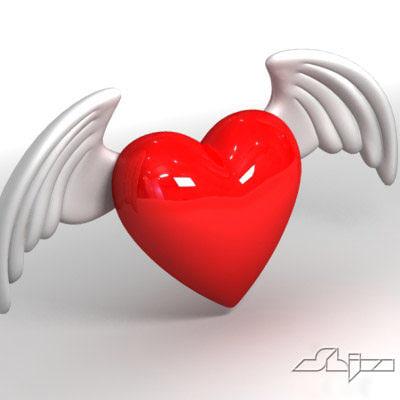 heart angel wings 3d model