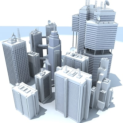 3d model 10 skyscrapers