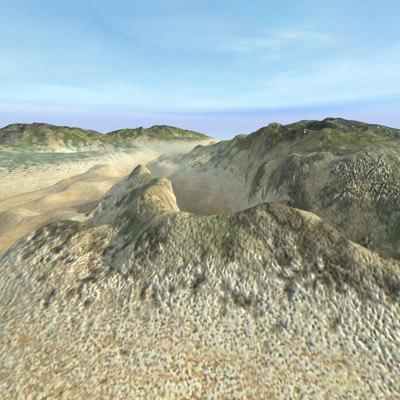 3d hills terrain landscape model