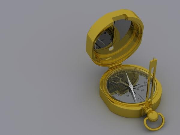 3d brass compass