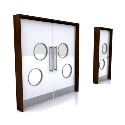 3d double single doors