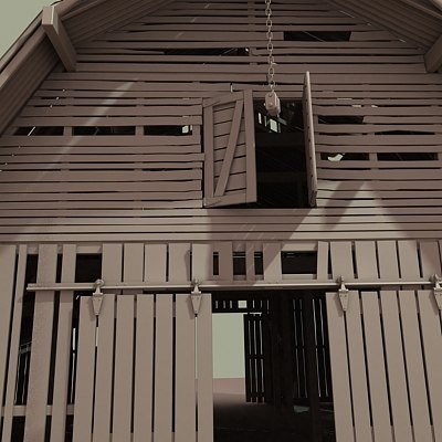 3d old wood barn