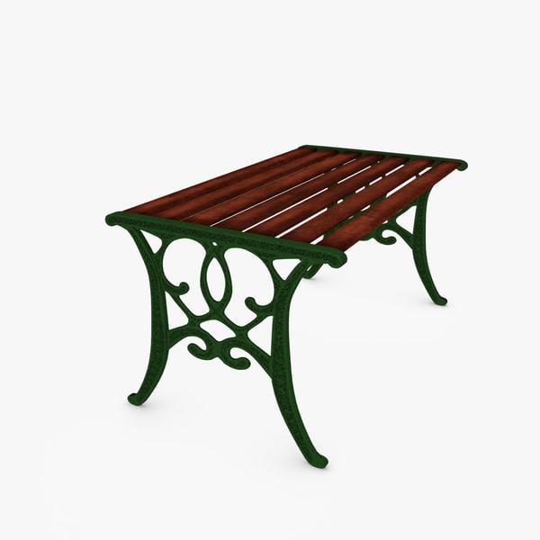 3d cast iron garden table model