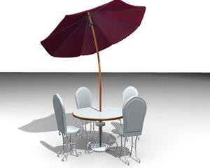 3ds garden chair table umbrella