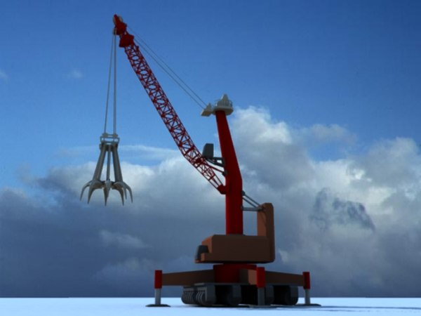 3d giant claw crane construction model