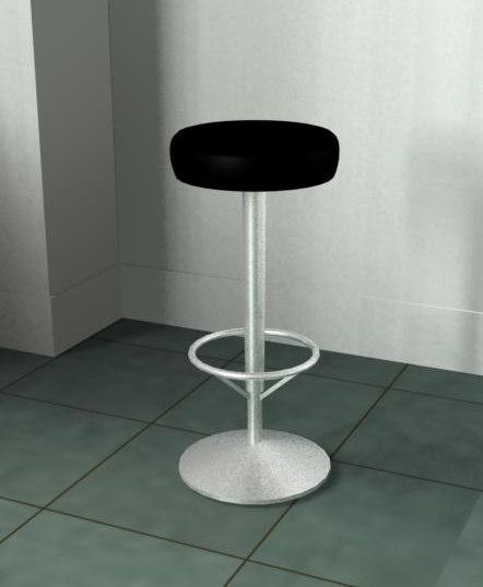 3d chrome leather stool model