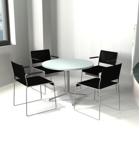 3d model chrome chairs table