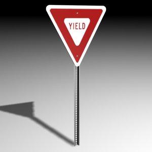 3d yield sign model