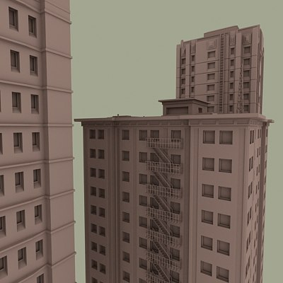 vintage buildings packs 3d model