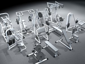 small gym equipment set 3d model