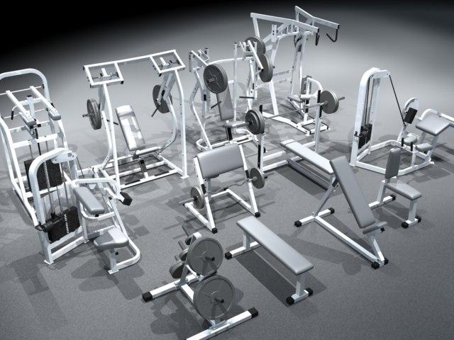 small gym equipment set 3d model