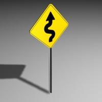 curve road sign 3d 3ds