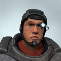 marine gun soldier 3d model