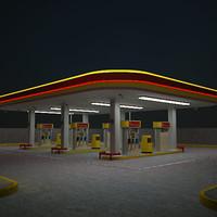 Generic Self Service Gas Station Night