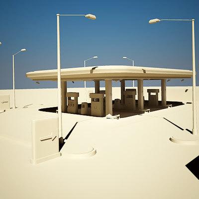 gas station self 3d model
