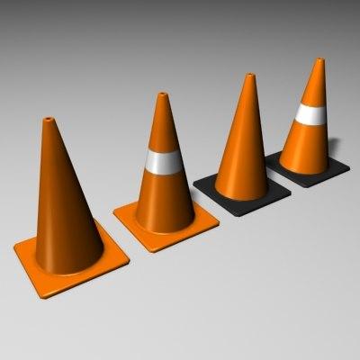 3d road cones