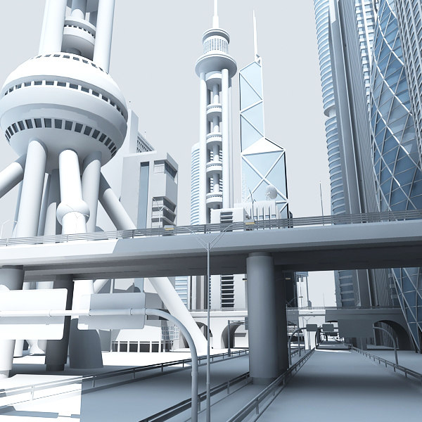 skyscrapers street 3d model