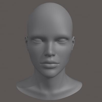 polygonal female head 3ds